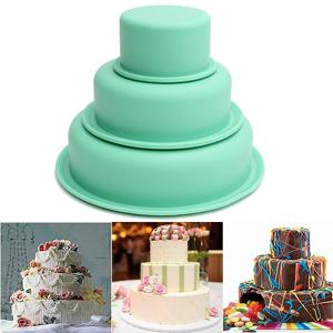 Newchic 3 Pcs DIY Round Silicone Cake Baking Pan Turn Sugar Cake Mold
