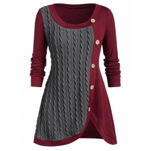 Newchic Button Patchwork Long Sleeve Knit Plus Size Women Sweater
