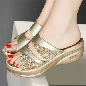 Newchic Hollow SequinedComfy Soft Sole Slippers