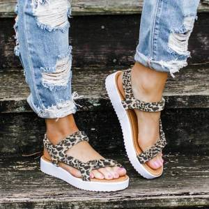 Newchic Large Sizes Women Leopard Solid Color Hook Loop Flats Sandals