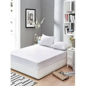 Newchic Matress White Matelas Smooth Waterproof Mattress Protector Cover Breathable Anti-mite Bedding Sets