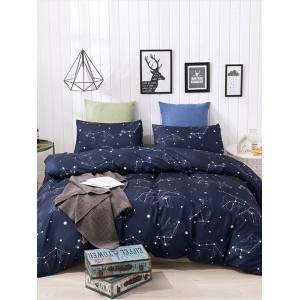 Newchic 3-Piece Duvet Cover 100% Washed Cotton Duvet Cover Stars Rose Ultra Soft and Easy Care Simple Style Bedding Set
