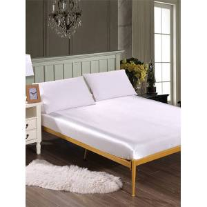 Newchic Solid Color Silk Like Super Soft Satin Bed Sheet Pillowcase Mattress Cover Bed Sheet Set Deep Pocket Fully Elastic Band