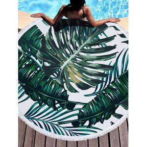 Newchic Summer Leaf Flower Animal Round Beach Towel With Tassel Picnic Rug Driftsand Pattern Microfiber Shower Bath Towel Travel