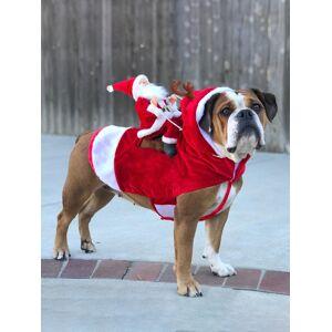 Newchic Pet Dog Christmas Costume Santa Claus Riding Pet Clothes Riding Deer Costume