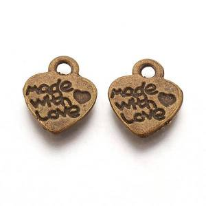 PandaHall Tibetan Style Alloy Pendants, Cadmium Free & Nickel Free & Lead Free, Valentine's Day, Heart with Made with Love, Antique Bronze...
