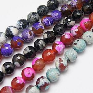 PandaHall Natural Fire Agate Beads Strands, Dyed, Faceted, Round, Mixed Color, 12mm, Hole: 1mm Fire Agate Round Multicolor
