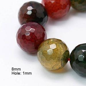 PandaHall Natural Agate Beads Strands, Dyed, Faceted, Round, Colorful, 8mm, Hole: 1mm; about 48pcs/strand, 15.7inches Natural Agate Round