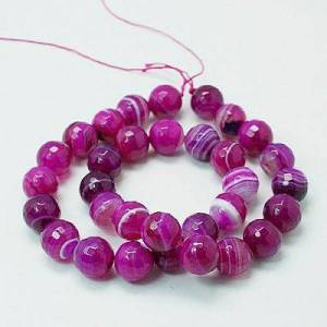 PandaHall Natural Agate Beads Strands, Dyed, Faceted, Round, Magenta, 8mm, Hole: 1mm; about 48pcs/strand, 15.7inches Natural Agate Round...