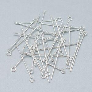 PandaHall 925 Sterling Silver Eye Pin, Silver, 25x2.5mm, Hole: 1.5mm; Pin: 0.5mm Sterling Silver