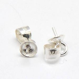 PandaHall Sterling Silver Pinch Bails, for Half Drilled Beads, 7x4x3mm, Pin: 1mm Sterling Silver