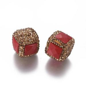 PandaHall Polymer Clay Rhinestone Beads, with Glass, Cube, Lt.Col.Topaz, 17~18.5x19~20x19~20mm, Hole: 1.4mm Polymer Clay+Glass Rhinestone...