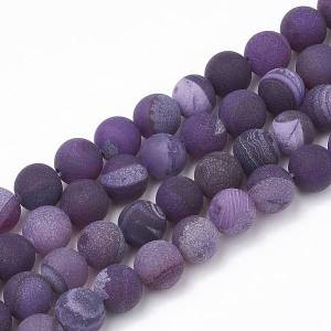 """PandaHall Dyed Natural Striped Agate/Banded Agate Beads Strands, Frosted, Round, Purple, 8~9mm, Hole: 1mm; about 48pcs/strand, 15.7"""" Banded..."""