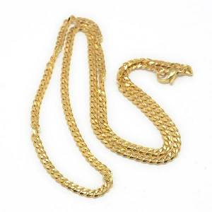 PandaHall Trendy Men's 304 Stainless Steel Curb Chain Necklaces, with Lobster Claw Clasps, Golden, 21.65inches(55cm) Stainless Steel