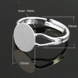 PandaHall Brass Ring Components, Pad Ring Findings, Adjustable, Silver Color Plated, 18mm inner diameter, Tray: 10mm Brass