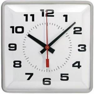 Simplex 2310-9271 12-Inch Square Synchronized Clock - Wired - Semi Flush - 3WBLK