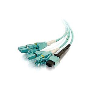C2G 3m MPO to 4 Duplex LC Fiber Breakout Cable OM4 Riser Rated (OFNR) - Aqua - Fiber Optic for Network Device - 9.84 ft - 1 x MPO Male Network - 4 x L