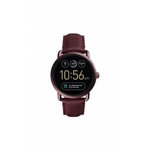 Fossil FTW2113 Q Wander Gen 2 1.8-inch Wine Leather Touchscreen Smartwatch - Red