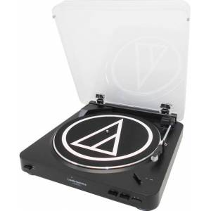 Audio-Technica AT-LP60BK-USB Fully Automatic Belt-Drive Stereo Turntable (USB & Analog) - Belt Drive - Automatic - 45, 33.33 rpm - Black