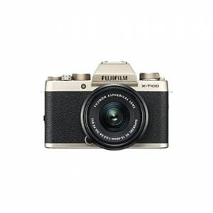 """Fujifilm X-T100 24.2 Megapixel Mirrorless Camera with Lens - 15 mm - 45 mm - Champagne Gold - 3"""" Touchscreen LCD - 3x Optical Zoom - Optical (IS) - 60"""