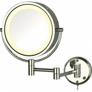 Jerdon HL75C 8.5-Inch Lighted Wall Mount Makeup Mirror - Chrome