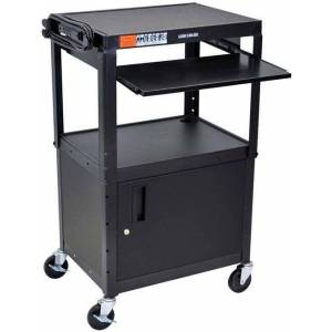 Luxor AVJ42KBC Adjustable Height Steel A/V Cart with Cabinet and Keyboard Shelf - Steel - 300 lb - Casters - 3 Shelf - 15 feet Cord -  Black