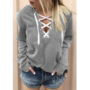 Fairyseason Hoodies & Sweatshirts Lace Up Long Sleeve Hoodie in Red,Light Grey. Size: S,M,L,XL,2XL,3XL,4XL