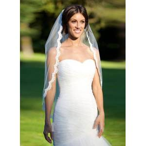 milanoo.com Milanoo Tulle Wedding Veils One Tiered Lace Cut Edge Classic Shape Fingertip Veils With Comb(90*140cm)  - White - Size: One Size