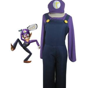 milanoo.com Milanoo Top-grade Super Mario Bros Waluigi Cosplay Costume Halloween  - Dark Navy - Size: Large