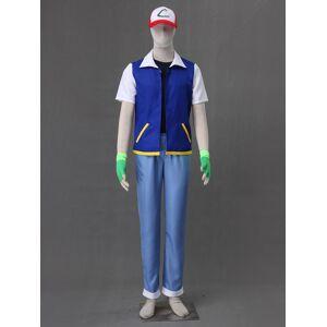 milanoo.com Milanoo Pocket Monster Pokemon Go Halloween Ash Ketchum Cosplay Costume Halloween  - Blue - Size: Male M