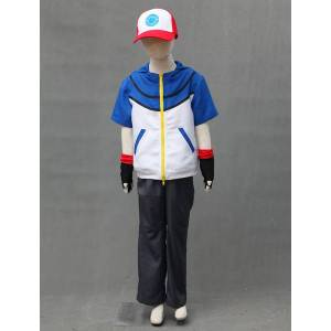 milanoo.com Milanoo Pocket Monster Pokemon Go Ash Ketchum Cosplay Costume For Kid Carnival  - Blue - Size: Large