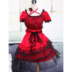 milanoo.com Milanoo Classic Lolita Dress Red Short Sleeve Lace Layered Ruffles Lolita OP Dress  - Red - Size: Small
