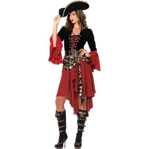 milanoo.com Milanoo Pirate Costume Carnival Burgundy Women Dresses Set 3 Piece  - Burgundy - Size: Medium