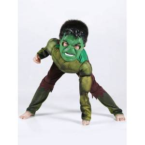 milanoo.com Milanoo Hulk Costume Halloween Kids Jumpsuits And Mask 2 Piece For Boys  - Green - Size: 140cm