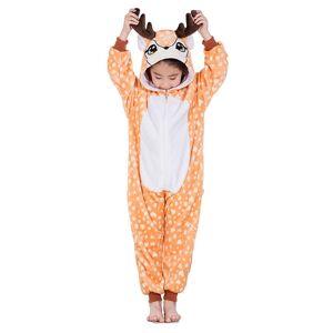 milanoo.com Milanoo Kids Kigurumi Onesie Pajamas Deerlet Flannel Winter Sleepwear Mascot Animal Halloween Costume  - Light Brown - Size: 140cm
