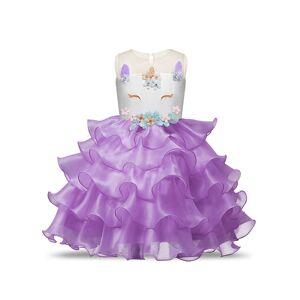 milanoo.com Milanoo Unicorn Dresses Little Girls Ruffles Halloween Costume Kids Party Dress With Headpieces  - Lilac - Size: 140cm