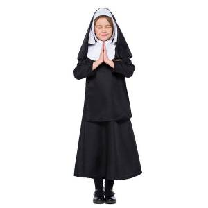 milanoo.com Milanoo Kids Nun Costume Carnival Black Dresses Set  - Black - Size: Medium