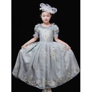 milanoo.com Milanoo Halloween Costumes For Kids Embroidery Ruffle Pewter Princess Dress Child Cosplay Wears  - Pewter - Size: 140cm
