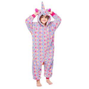 milanoo.com Milanoo Kigurumi Pajamas Onesie Unicorn Front Zip Kid Flannel Easy Toilet Winter Sleepwear Mascot Animal Halloween Costume  - Purple - Size: 140cm