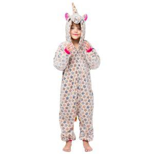 milanoo.com Milanoo Kigurumi Onesie Pajamas Unicorn Kid\'s Flannel Easy Toilet Winter Sleepwear Mascot Animal Halloween Costume  - Beige - Size: 140cm