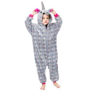 milanoo.com Milanoo Kigurumi Onesie Pajamas Unicorn Kid\'s Flannel Easy Toilet Winter Sleepwear Mascot Animal Halloween Costume  - Grey - Size: 140cm