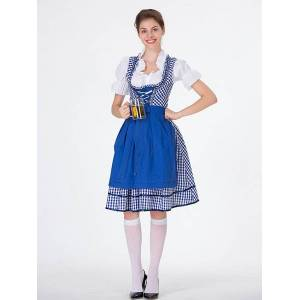 milanoo.com Beer Girl Costume Gingham Lace Up Dress Holidays Costumes Oktoberfest Costumes