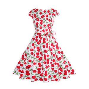 milanoo.com Milanoo 1950s Costume Women Vintage Dress Cherry Print Swing Dress  - Red - Size: Small