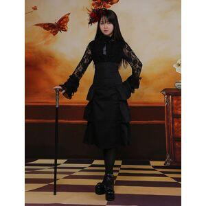 milanoo.com Milanoo Classic Black Long Lolita Skirt High Waist Layers  - Black - Size: Medium