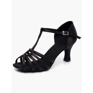 milanoo.com Milanoo Satin Ballroom Shoes Black Open Toe T Tpe Latin Dance Shoes Women Ballroom Shoes  - Black - Size: US9(EU39.5 CN40)