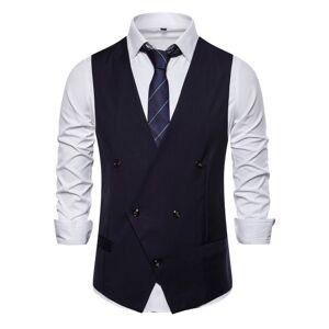 milanoo.com Men\'s Dress Vests Wedding British Style V-Neck Buttons White