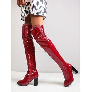 milanoo.com Milanoo Women\'s Over The Knee Boots Patent Upper Black Round Toe Thigh High Boots  - Burgundy - Size: US12(EU44.5 CN45)