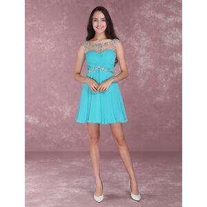 milanoo.com Milanoo Short Homecoming Dresses Turquoise Illusion Sweetheart Mini Prom Dress Beading Chiffon Cocktail Dress  - Turquoise - Size: US 6