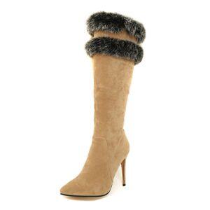 milanoo.com Milanoo Knee High Boots Womens Micro Suede Faux Fur Pointed Toe Stiletto Heel Winter Boots  - Camel - Size: US12(EU44.5 CN45)