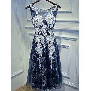 milanoo.com Cocktail Dress 2020 Elegant A Line Knee Length Jewel Neck Lace Homecoming Party Dresses